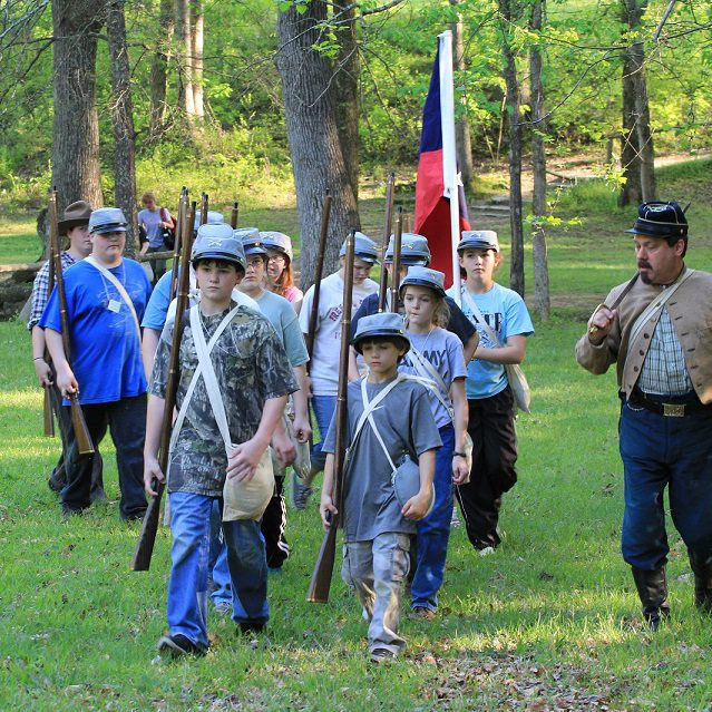 Kids get a lesson in marching at Shiloh National Military Park.
